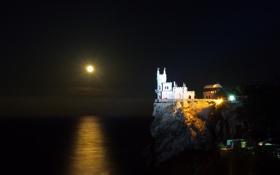 Обои ночь, луна, гнездо, крым, ласточкино