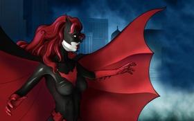 Обои комикс, Batwoman, batman, красный плащ, Бэтвумен, девушка