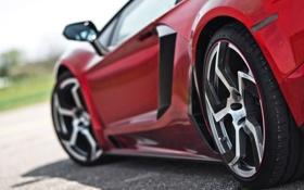 Картинка крупный план, красный, Lamborghini, колеса, суперкар, диски, LP700-4