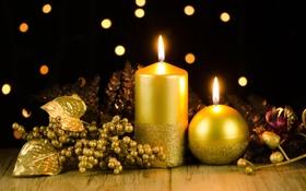 Обои стол, праздник, свечи, декорации, золотые, свечки