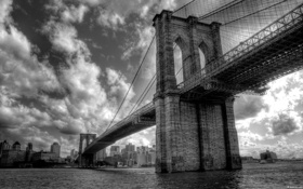 Картинка city, город, река, Нью-Йорк, Бруклинский мост, river, New York