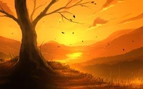 Обои листья, пейзаж, закат, река, дерево, арт