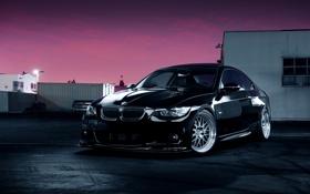 Картинка ночь, бмв, BMW, чёрная, black, front, E92
