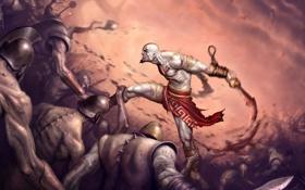 Картинка Игра, воин, арт, битва, бог войны, Kratos, клинки