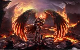 Обои ангел, angel, огненые крылья