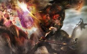 Картинка девушка, атака, меч, выстрел, воин, лук, удар