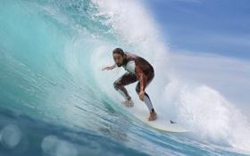 Обои волны, серфер, серфинг, доска для серфинга, баррель