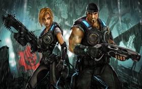 Картинка оружие, дождь, джунгли, экипировка, Gears of War, бойцы, Anya Stroud