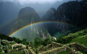 Картинка зелень, пейзаж, горы, природа, радуга, rainbow, руины
