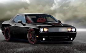 Картинка чёрный, Dodge, Challenger, автомобиль, додж