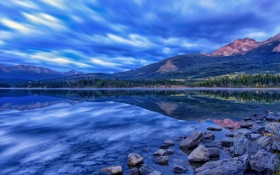 Обои горы, озеро, отражение, камни, Канада, Альберта, Alberta