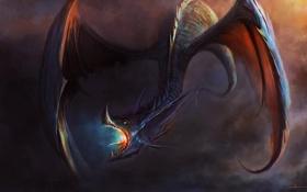 Обои дракон, крылья, арт, пасть, cloudminedesign