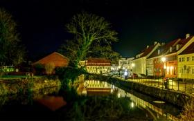 Картинка деревья, ночь, огни, река, дома, канал