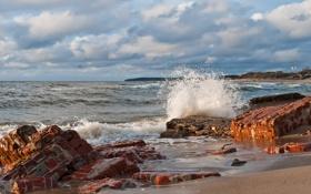 Обои камни, волна, море