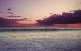 Обои закат, облака, небо, океан, волна, тучи
