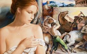 Обои кулон, арт, Edson Campos, девушка, картина, задумчивось, холсты