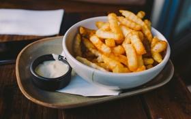 Обои еда, соус, картошка, фри