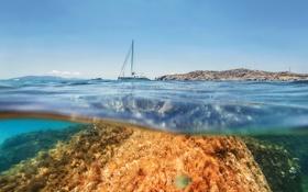 Картинка море, небо, лодка, камень, остров