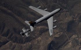 Обои Stratotanker, KC-135, Fighting Falcon, F-16, ландшафт, «Файтинг Фалкон»