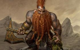 Картинка Топор, Slayer, Warhammer, tatoo, Гном, dwarf, Axe