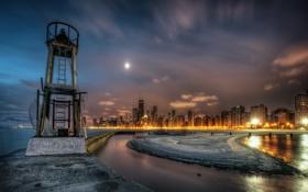 Картинка Чикаго, Иллинойс, Chicago, Illinois, night, usa