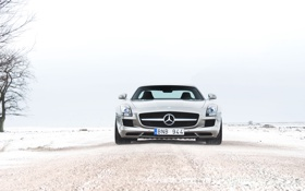 Обои winter, amg, sls, 6.3, snow, mercedes-benz