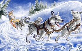 Обои зима, снег, ветер, человек, лайки, упряжка, ёлки