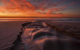 Обои песок, пляж, ручей, океан, рассвет, берег