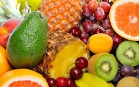 Обои ягоды, киви, виноград, фрукты, ананас, персики, черешня