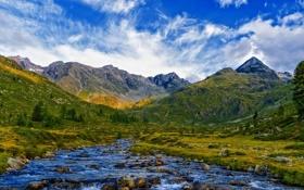 Картинка горы, облака, Небо, река, камни