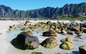 Обои песок, Andoy, поселок, Норвегия, горы, домики, камни
