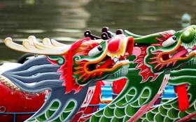 Картинка праздник, лодка, дракон, Китай