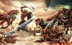 Обои прыжок, меч, доспехи, монстры, Воин, когти, клыки