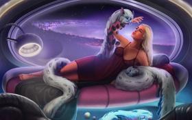 Обои девушка, космос, существо, арт, галактика, зверек, Jon Hrubesch