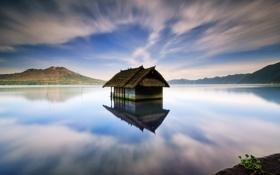 Обои lake house, batur lake, bali - indonesia