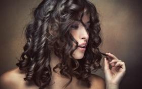 Картинка волосы, Девушка, руки, губы, eyes