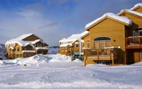 Обои фото, Дома, Зима, Город, Снег