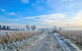 Картинка иней, дорога, поле, небо