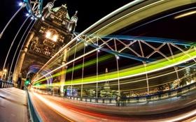 Обои Tower bridge, ночь, Великобритания, огни, выдержка, city, Лондон