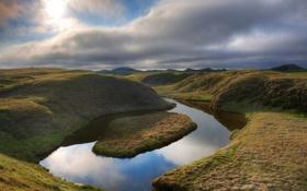 Обои небо, трава, вода, природа, фото, холмы, пейзажи