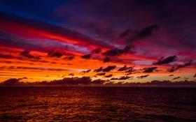 Обои море, небо, облака, закат, горизонт, сумерки