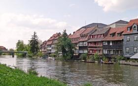 Картинка Bamberg, река, Бавария, фото, город, побережье, Германия