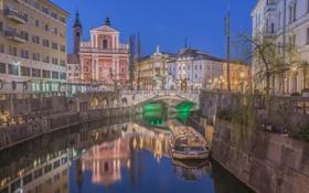 Обои ночь, мост, огни, река, дома, Словения, Любляна