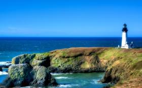Картинка море, небо, солнце, камни, голубое, побережье, маяк