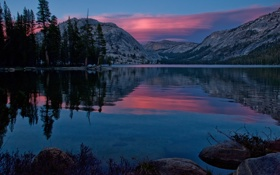 Картинка закат, Yosemite National Park, Tenaya Lake, Йосемити, Калифорния, California, горы