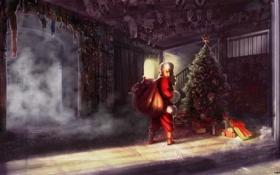 Обои взгляд, дом, елка, куклы, арт, подарки, мешок