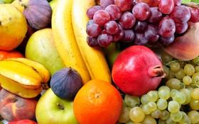 Картинка ягоды, яблоки, апельсины, виноград, фрукты, персики, груши