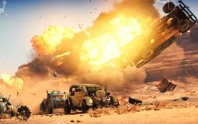 Обои машины, взрыв, пустыня, погоня, Mad Max, Fury Road, Безумный Макс