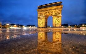 Картинка свет, город, огни, Франция, Париж, вечер, освещение