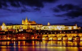 Обои ночь, огни, река, Прага, Чехия, холм, собор